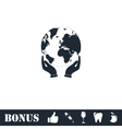 Hands holding globe earth icon flat vector image vector image