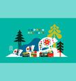 happy holiday winter folk city polar bear card vector image