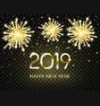 happy new year background with bright gold numbers vector image