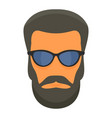 hipster man face icon flat style vector image