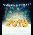 holiday background with 2018 and garland vector image