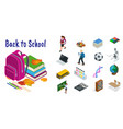 isometric education icons set back to school vector image
