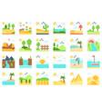 landscape flat icon set 4 vector image