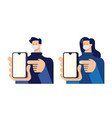 man and woman point finger to smartphone vector image