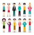 men characters flat design funky man set vector image vector image