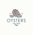 oyster shell label vector image vector image
