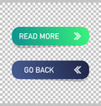 read more and go back button isolated web design vector image vector image