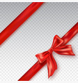 realistic red bow and ribbon isolated on checkered vector image