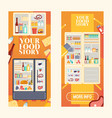 refrigerator full products set banners vector image vector image