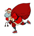 santa claus disabled on prostheses delivers gifts vector image vector image