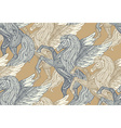 Seamless pattern with Hand drawn Pegasus