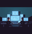 security workers watching video surveillance vector image vector image