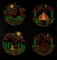Set hand drawn hiking and tourism emblems
