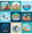 Set of Different Landscapes in the Flat Style vector image vector image