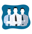 set of three men in suits on a blue background vector image vector image