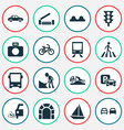 shipment icons set with zebra crossing bus train vector image vector image
