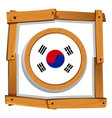 south korean flag in round frame vector image vector image