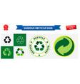 various recycle sign and green dot vector image vector image