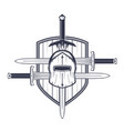 medieval helmet swords and shield vector image