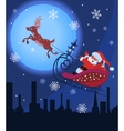 santa claus and rudolf in christmas night vector image