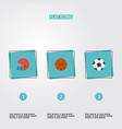 flat icons basket ball rugby and other vector image