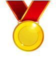 golden medal with red ribbon vector image