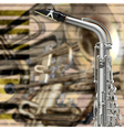 abstract music beige background with saxophone and vector image vector image