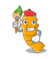 artist shrimps on a character cartoon style vector image