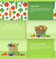 banners or cards with vegetables vector image vector image