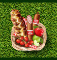 basket full of food products on green grass vector image