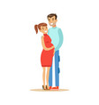 beautiful young pregnant couple colorful vector image vector image