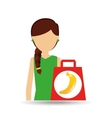 cartoon girl shopping banana fruit icon vector image vector image
