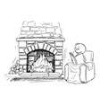 cartoon man siting in front fireplace in vector image vector image
