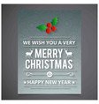 christmas card with pattern background vector image