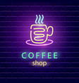 coffee shop neon logo vector image vector image