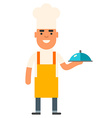 Cook chef man in yellow apron with a dish in hand vector image