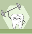 cute happy cartoon tooth is in the fitness vector image