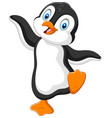 cute penguin cartoon dancing on white background vector image vector image