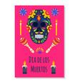dia de los muertos poster with black sugar skull vector image vector image