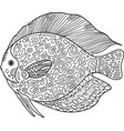 Doodle zentangle fish coloring page with animal