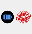 electric battery icon and distress strength vector image vector image