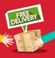 free delivery symbol with parcel and hands flat vector image vector image