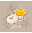 gaiwan on brown background vector image vector image