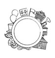 grunge circle emblem with carnival entertainment vector image vector image