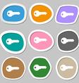 key icon symbols Multicolored paper stickers vector image vector image