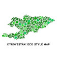 leaf green collage kyrgyzstan map vector image vector image