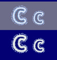 letter c on grey and blue background vector image vector image