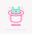 magician hat with rabbit ears thin line icon vector image