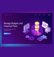 manage budget and financial plans banner vector image vector image