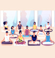 meditation group people sit in lotus posture and vector image vector image